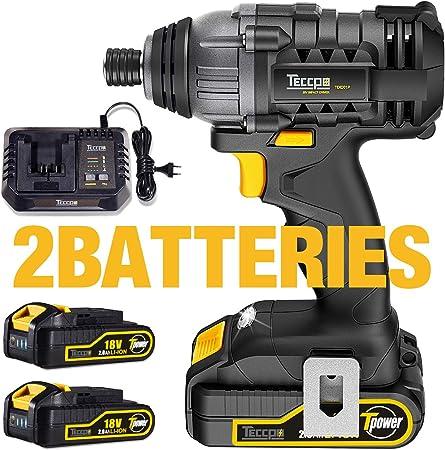 TECCPO 180Nm Boulonneuse sans-fil 18V 30min Charge Rapide TDID01P 6.35mm Mandrin 2 Batteries 2.0Ah Visseuse /à Chocs Sans fil