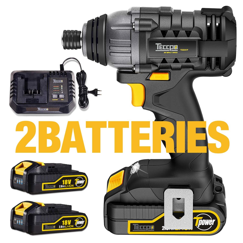 Atornillador de Impacto, TECCPO 180Nm Atornillador Batería 18V, 2×2.0Ah Baterías Li-Ion, 30min Cargador Rápido, 6.35mm Mandril Metal Autoblocante, ...