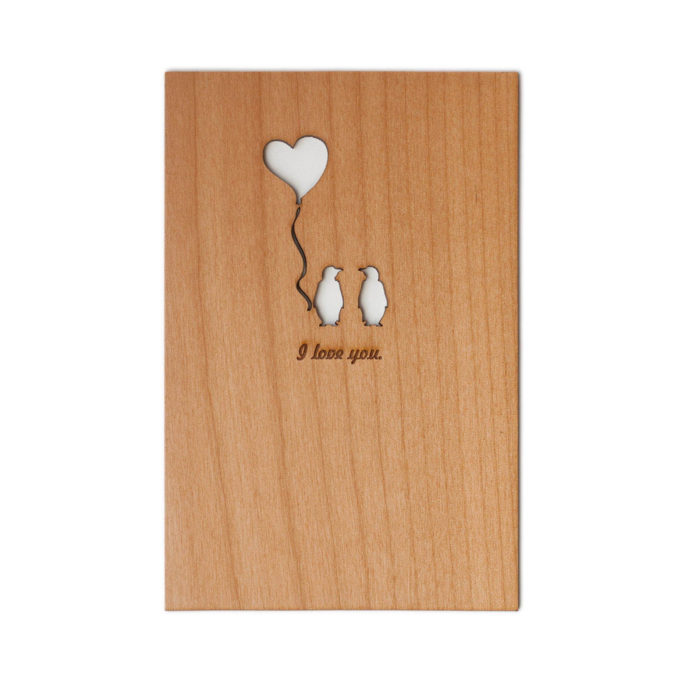Penguin Love Laser Cut Wood Card (Love / 5 Year Anniversary / Boyfriend or Girlfriend / Valentine's Day)