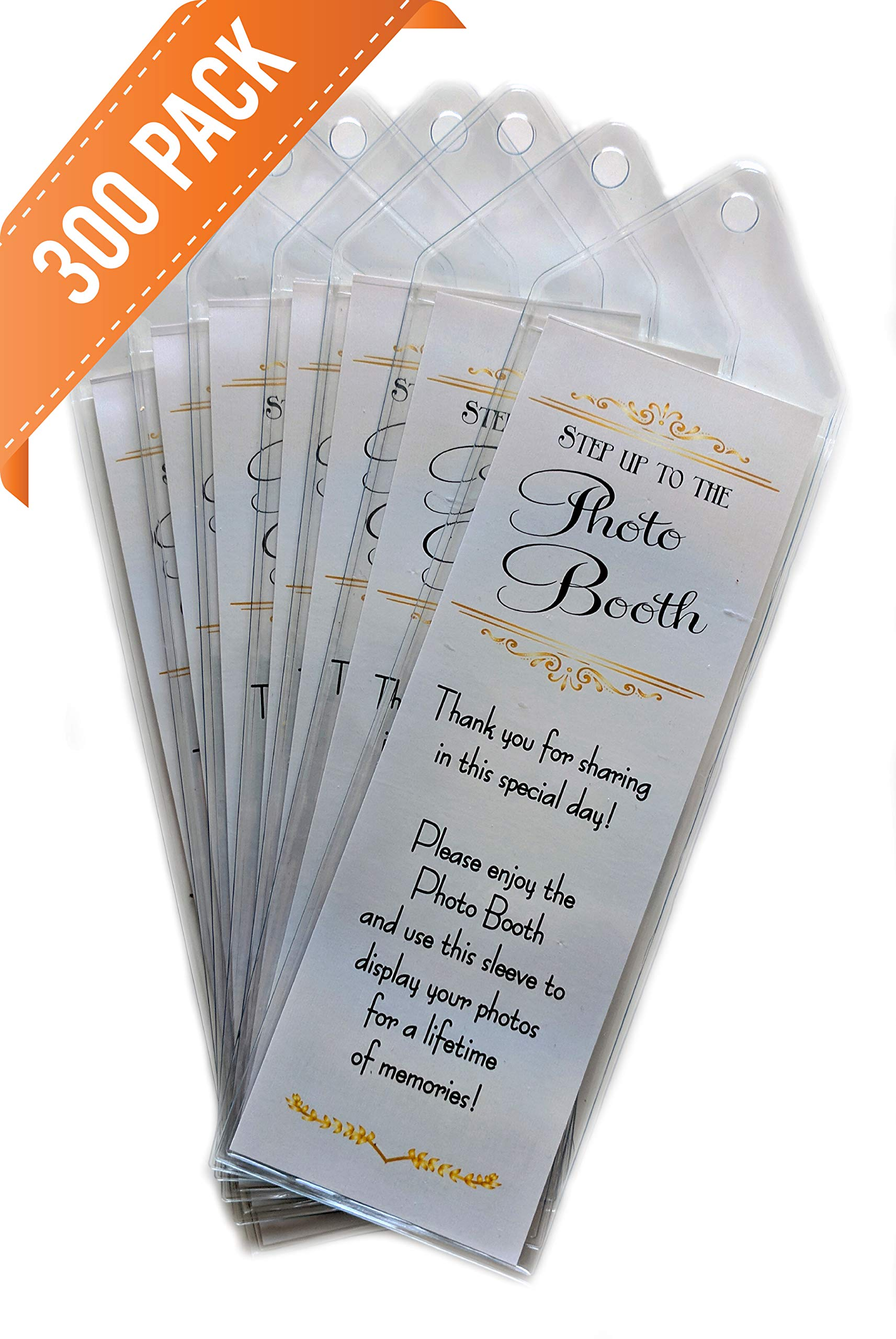 Premium Photo Booth Bookmark Sleeves with Inserts 2 1/4'' X 6 1/4'' for Wedding (300 Pack) by Photo Booth Nook
