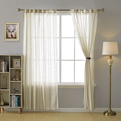 Striped white sheer panel curtains remarkable