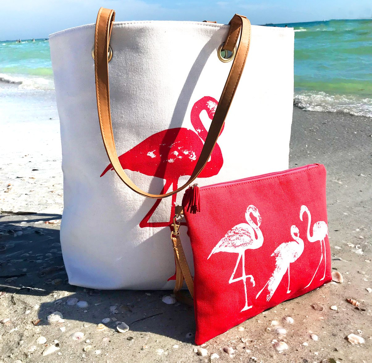 XL Large Cotton Canvas Flamingo Tote & Accessory Bag for Beach, Travel & Every Day by Kodi Lifestyle Collection (Image #3)