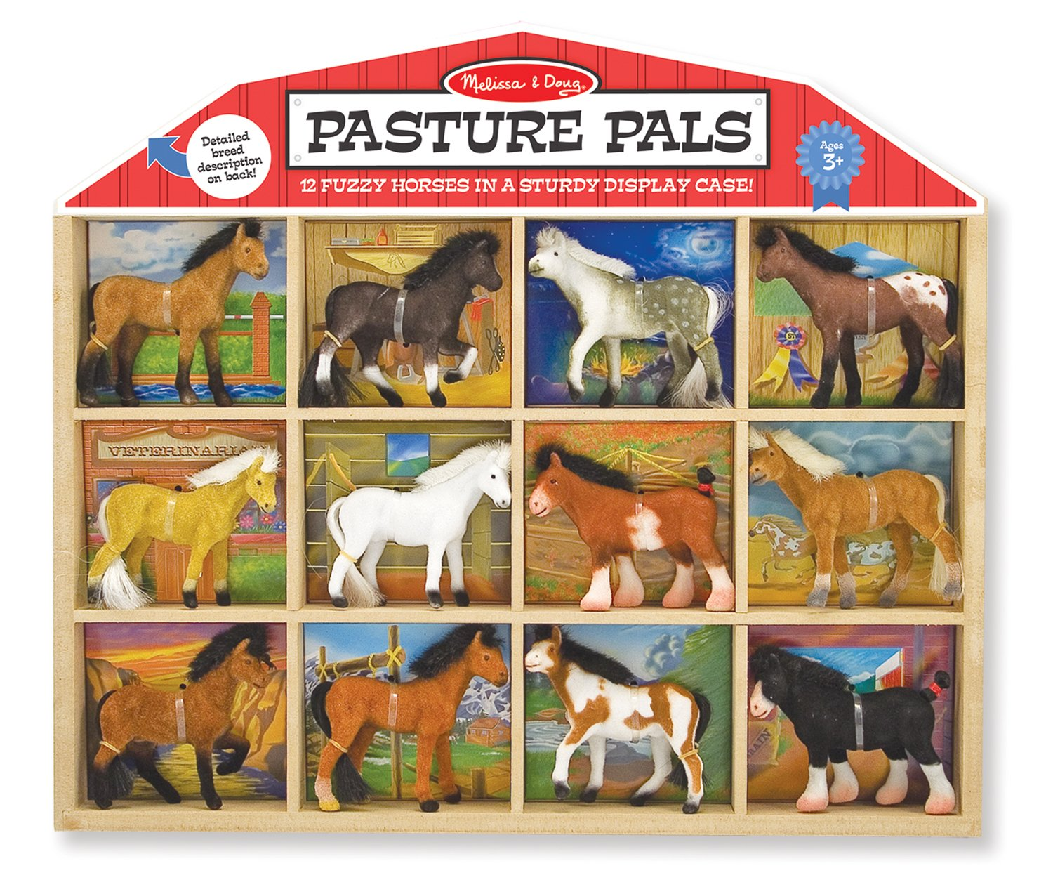 Melissa & Doug Pasture Pals - 12 Collectible Horses With Wooden Barn-Shaped Crate
