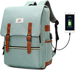 Slim Vintage Laptop Backpack, Unisex School Bag College Rucksack for Girls Boys, Water Resistant Work Travel Backpack for Women Men with USB Charging Port, Fits 15.6 Inch Laptop Macbook