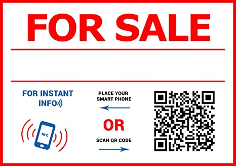 Qr And Nfc Tag For Sale Sticker A4 Format 8x11 5 Inch Sell You Car House Apartment Boat Quickly A4 Format Window Decal
