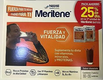 Nestlé Meritene - Complemento alimenticio sabor chocolate PACK AHORRO DE 2 UNIDADES. Total 30 sobres: Amazon.es: Salud y cuidado personal