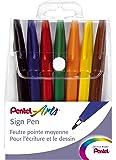 Pentel Sign Pen S527 Etui mit 7 Filzstiften fein Acrylfarbe 7 Farben