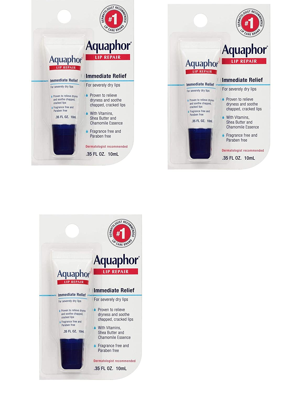 Aquaphor Lip Repair Ointment - Long-lasting Moisture to Soothe Dry Chapped Lips - .35 fl. oz Tube, 3 Pack
