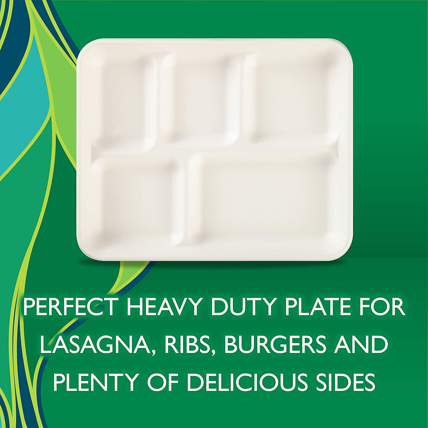 Hefty ECOSAVE 100/% Compostable Compartment Paper Plates 10 Inches 16 Count