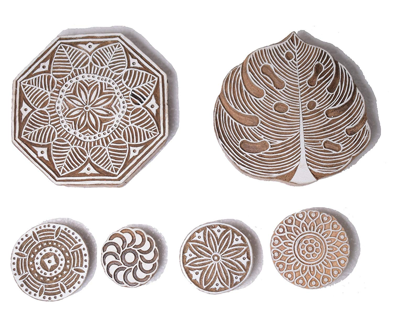 PARIJAT HANDICRAFT Printing Stamp Mughal Design Wooden Blocks (Set of 6) Hand-Carved for Saree Border Making Pottery Crafts Textile Printing