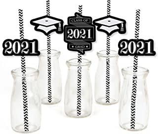 product image for Big Dot of Happiness Graduation Cheers Paper Straw Decor - 2021 Graduation Party Striped Decorative Straws - Set of 24