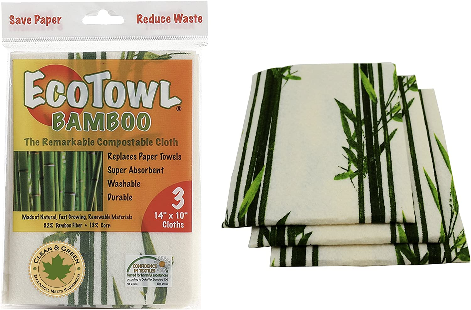 Pacific Dry Goods Eco Large Bamboo Dish Towels Set of 3 PDYETB