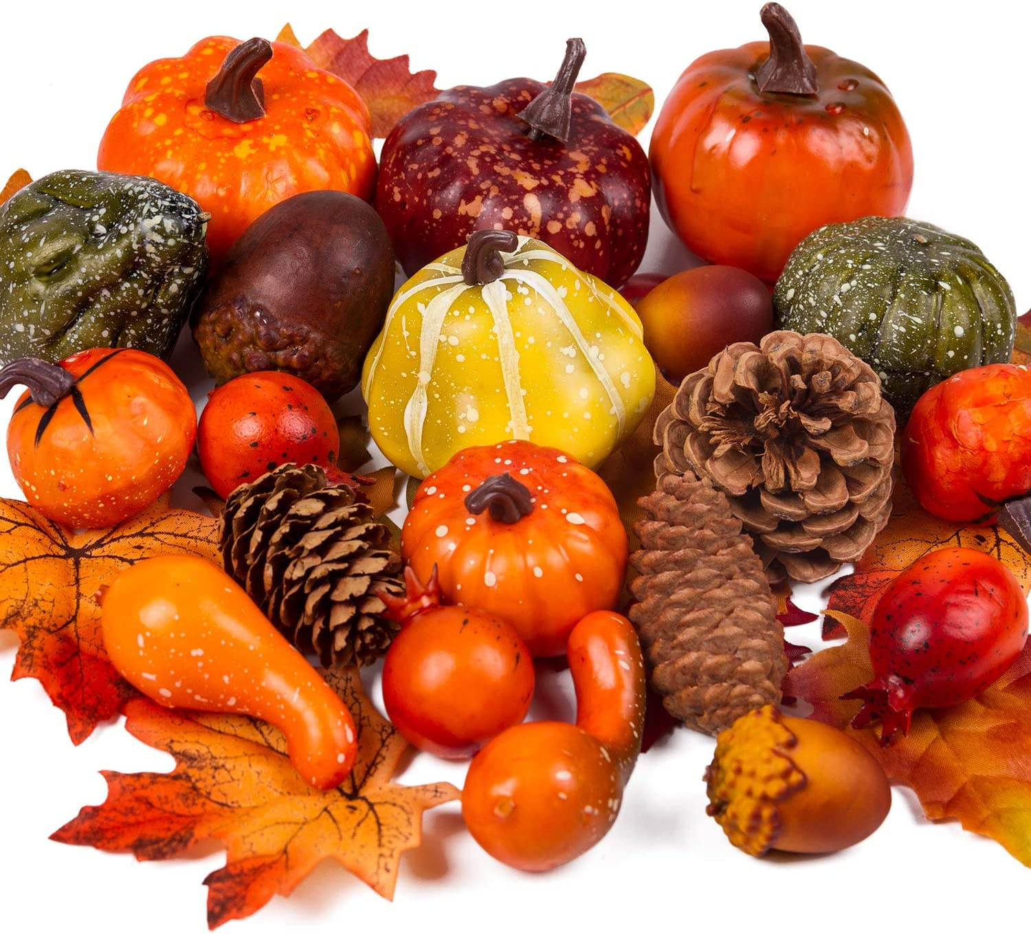 WRAPAHOLIC Decorative Lifelike Realistic Artificial Fall Decor - Fake Pumkins, Lifelike Maple Leaves, Artificial Pine Cones and Acorns for Halloween Thanksgiving Autumn Ornaments