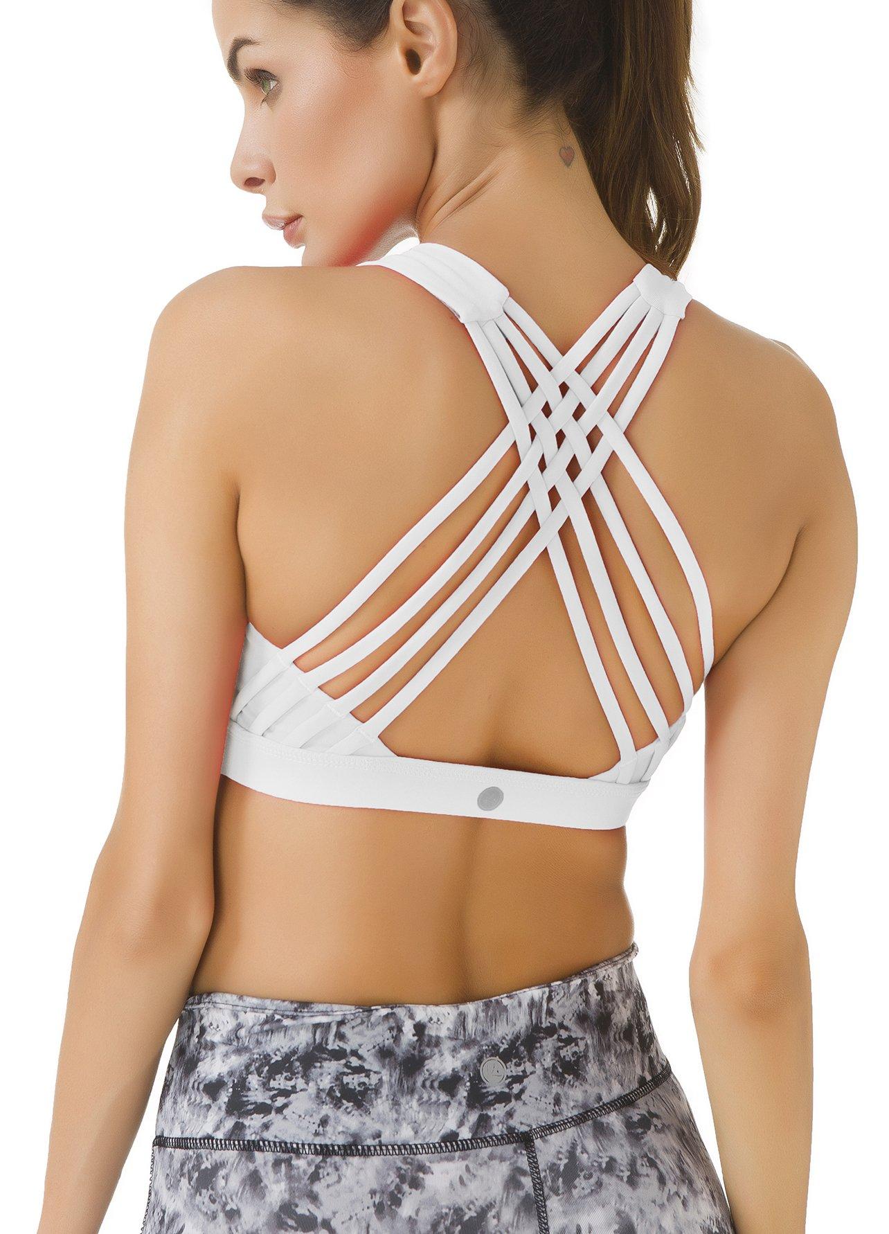 Queenie Ke Women's Medium Support Strappy Back Energy Sport Bra Cotton Feel Size M Color Angle White