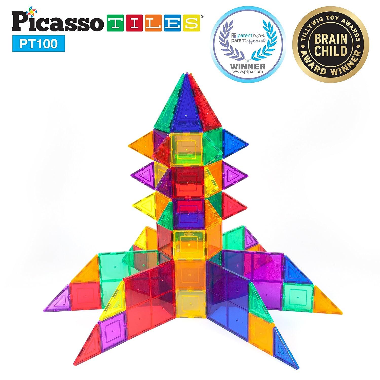 e45d9aaa61 PicassoTiles 100 Piece Set 100pcs Magnet Building Tiles Clear Magnetic 3D  Building Blocks Construction Playboards
