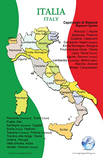 Amazoncom Poster In Italian Map Of Italy And Its Regions For - Italian map