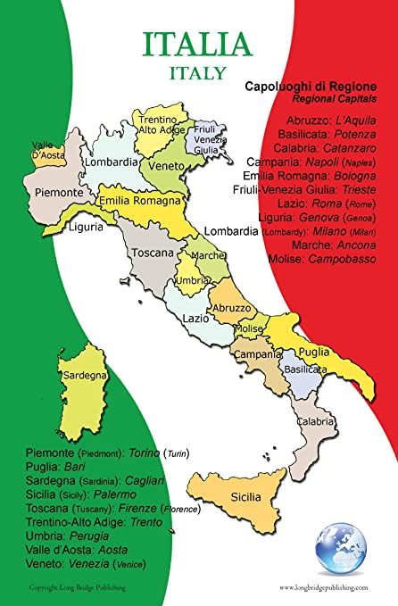 Map Of Italy In Italian.Poster In Italian Map Of Italy And Its Regions For Classroom Playroom And Language Learning Bilingual Text In Italian And English Easy Way To