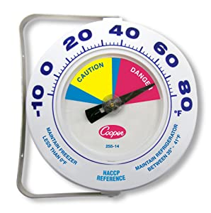 """Cooper-Atkins 255-14-1 Bi-Metal HACCP Refrigerator and Freezer Thermometer, 6"""" Dial Size, -10 to 80 Degrees F Temperature Range"""