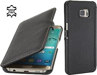 StilGut Book Type avec Clip, Housse en Cuir pour Samsung Galaxy S6 Edge+, en Noir