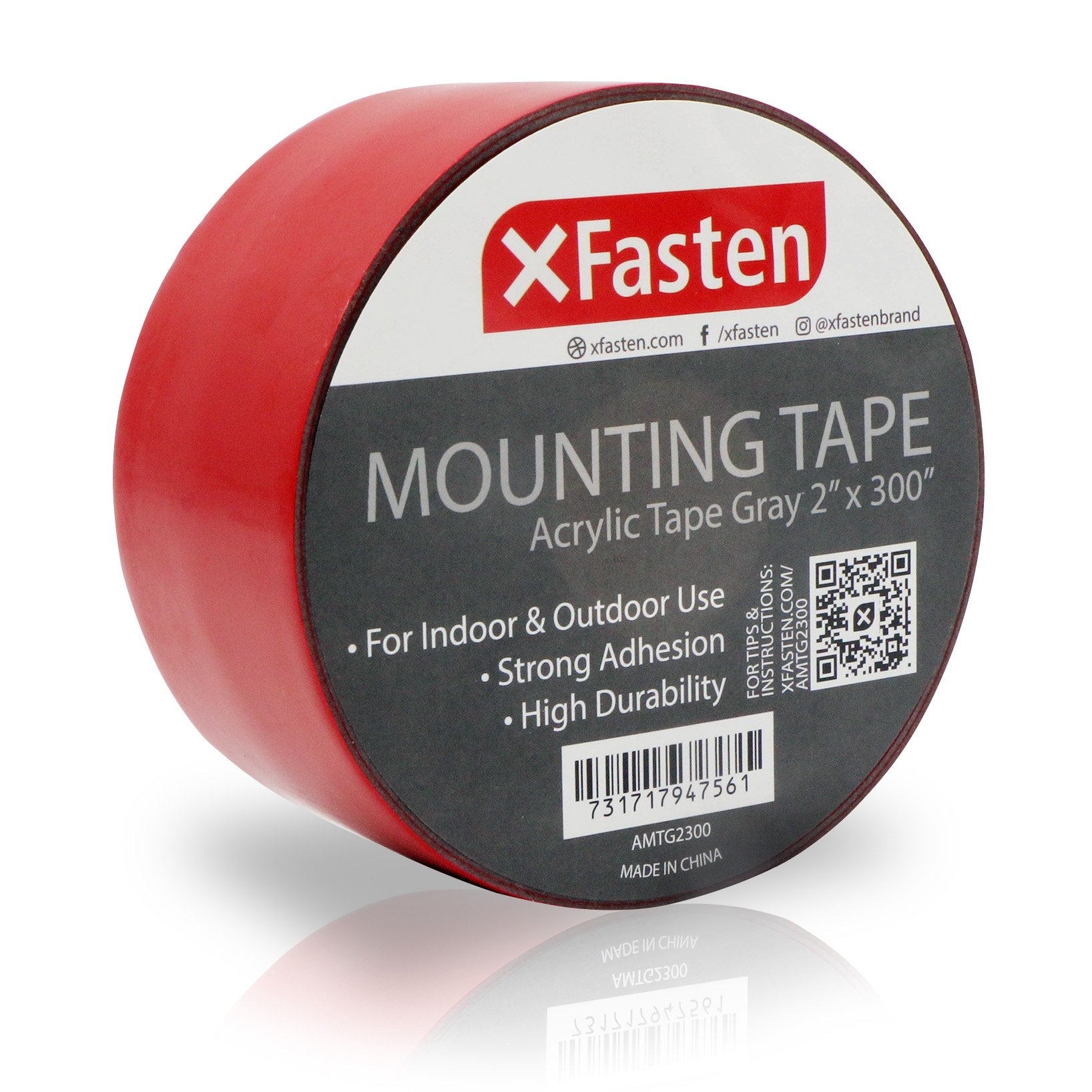XFasten Extreme Double-Sided Acrylic Mounting Tape Removable, Gray, 2-inch x 300-Inch, Waterproof Indoor and Exterior Double Sides Brick Mounting Tape by XFasten