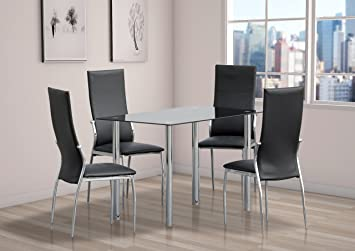 Comfy Living Dining Set 4 Chairs Black Glass Table Top Chrome Legs Kitchen