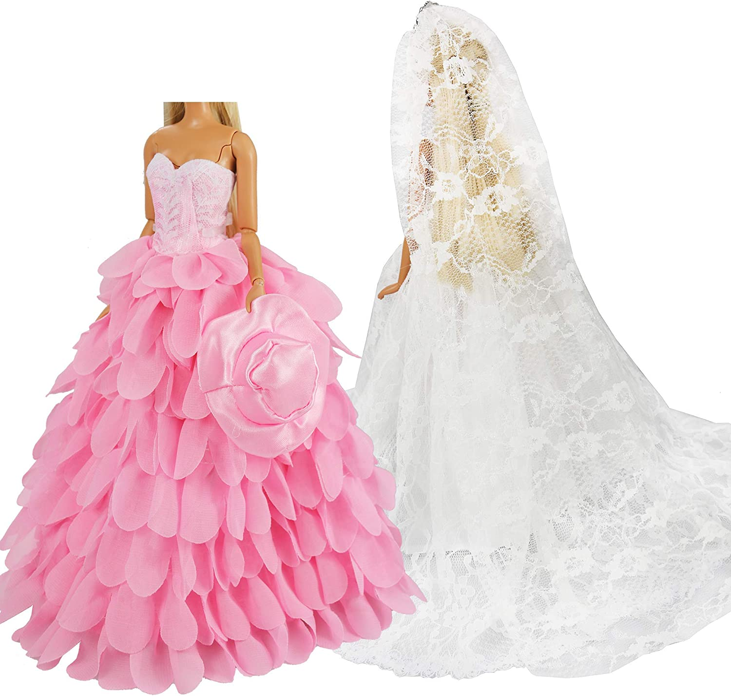 New Barbie clothes outfit princess wedding  ball gown dress pink lace