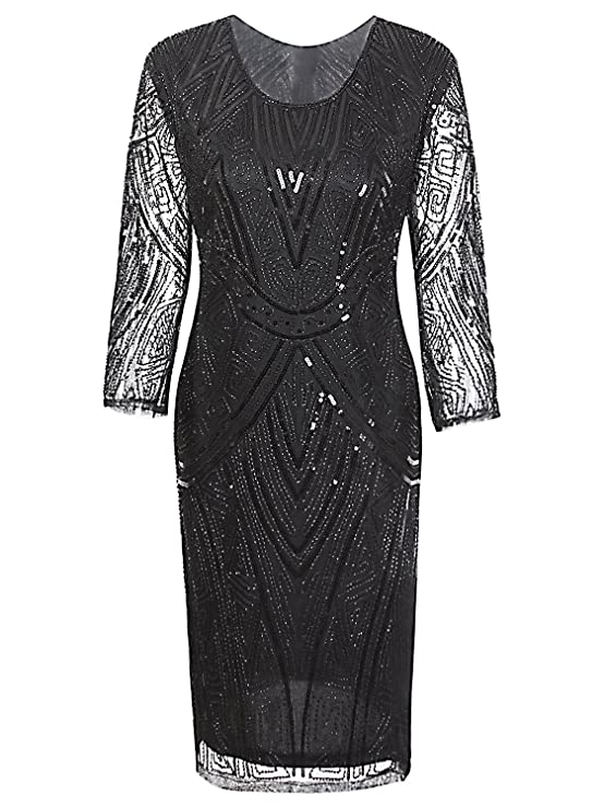 Black Flapper Dresses, 1920s Black Dresses Vijiv Women 1920s Gastby Beaded Sequin 3/4 Sleeve Art Deco Embellished Flapper Dress $41.99 AT vintagedancer.com