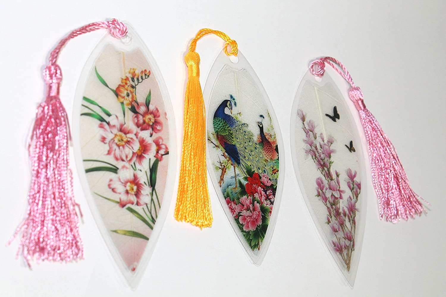 Lucore Leaf Bookmarks Peacocks And Pink Flowers Asian Someday Floral Embroidery Top Painting Lucky Charm Ornament Hanging Wall Decor Art Decoration 3 Pcs