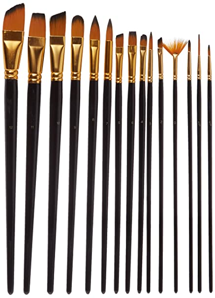 Juvale Acrylic Paint Brush Set 15 Pack Watercolor Brushes With Synthetic Nylon Tips For Beginner Professional Student And Adult