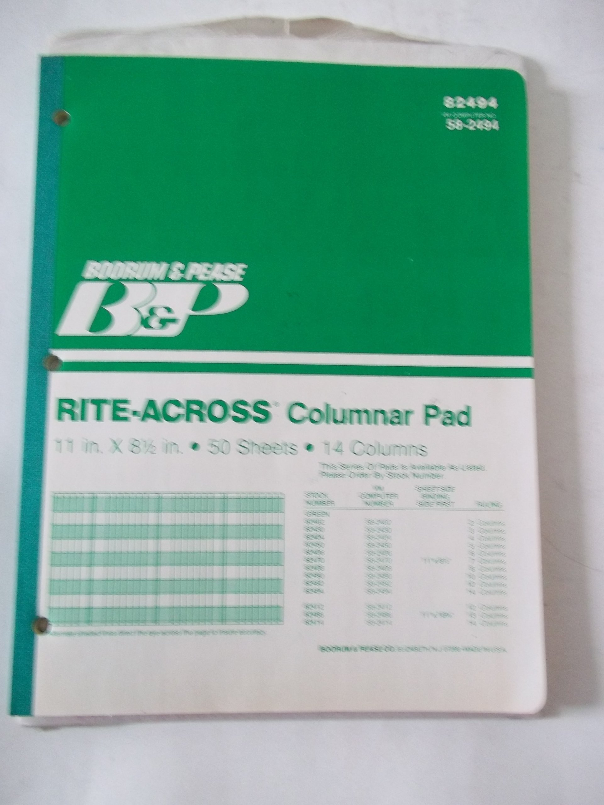 Boorum Pease 82494 rite-across 14 Columns Columnar Pad 50 Sheets 11'' x 8 1/2'' Alternating Green White Lines VM Computer No. 64-6821