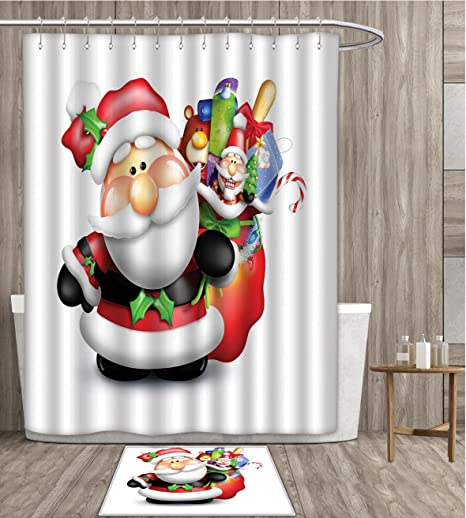 Santa Shower Curtain Sets Bathroom Whimsical Cartoon Father Xmas With Pinkish Cheeks And Bag Full Of