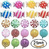 "SOTOGO 21 Pieces Sweet Candy Balloons Set Including 13 Pieces 18"" Round Lollipop Balloon Birthday Wedding Party Balloons And 8 Pieces 25"" X 18"" Candy Lollipop Balloons Aluminum Balloons For Birthday"