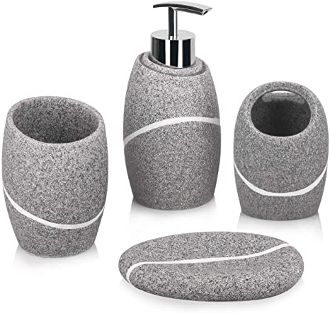 Amazon Com Bathroom Accessory Set 4 Pieces Bathroom Accessories Complete Set Vanity Countertop Accessory Set With Marble Look Includes Soap Dispenser Bathroom Toothbrush Holder Tumbler Soap Dish Grey Granite Home Kitchen
