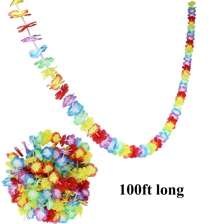 JOYIN Luau Tropical Hawaiian Party Decoration Set Including 100 ft Flower Lei Garland 36 Hibiscus Flowers and 9 ft Luau Table Skirt