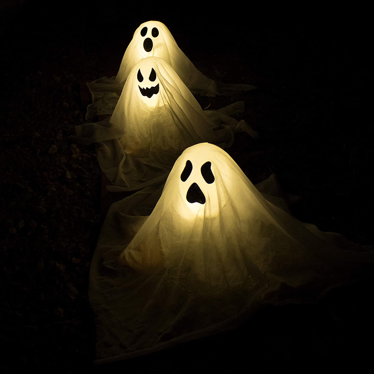JOYIN Halloween White Ghost Stakes with Light Up Design (3 Packs), Best Halloween Decoration, Lights Decor Outdoor, Halloween Yard Decorations