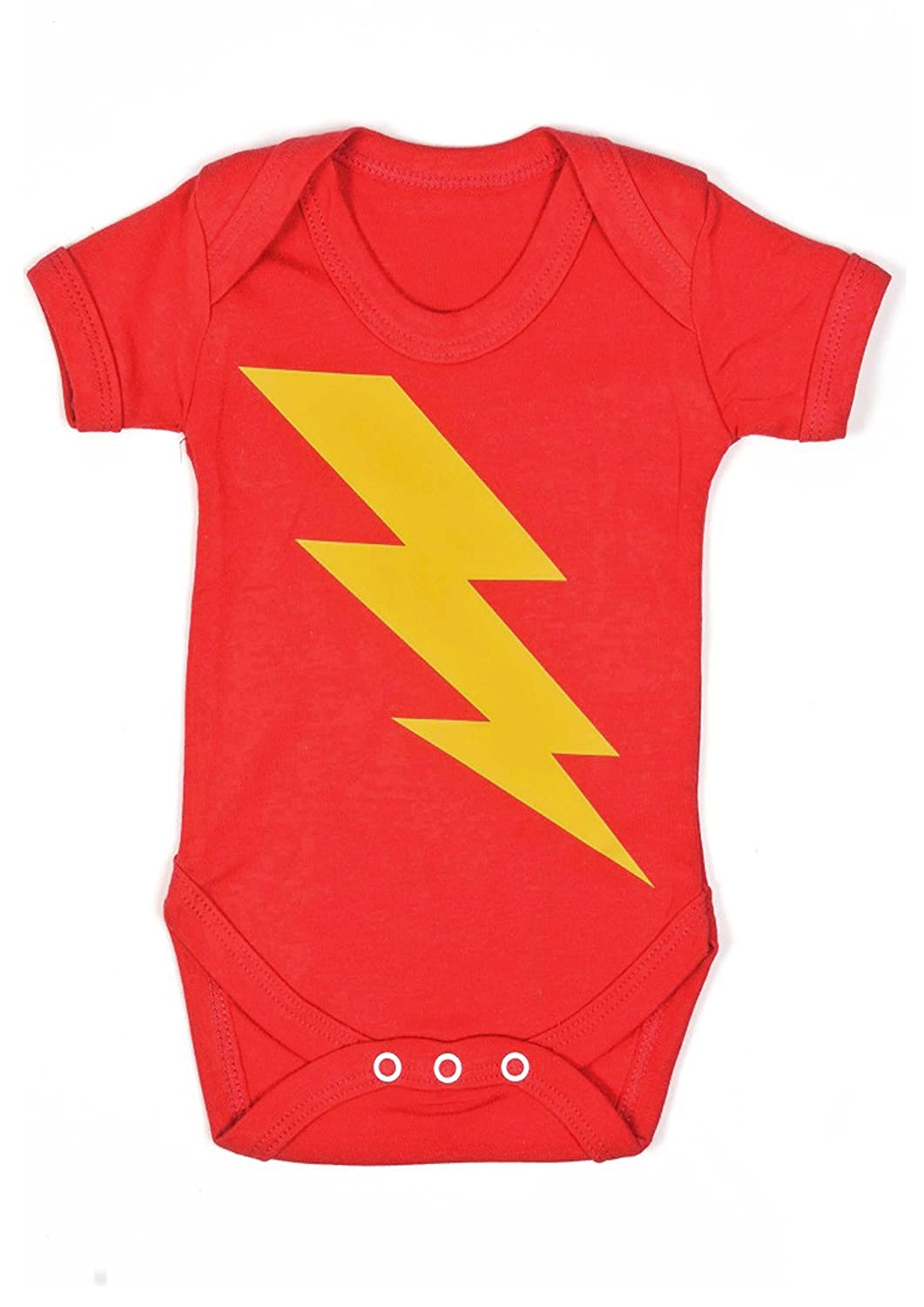 SUPERHERO Baby Grow for Boys or Girls | Lightning Bolt Flash Baby Vest /1 Neutral Bodysuit - Ideal Baby Shower, Twin, Christmas or 1st Birthday Gift | by BABY MOO'S UK (0-3 Months) Baby Moo' s Flash03