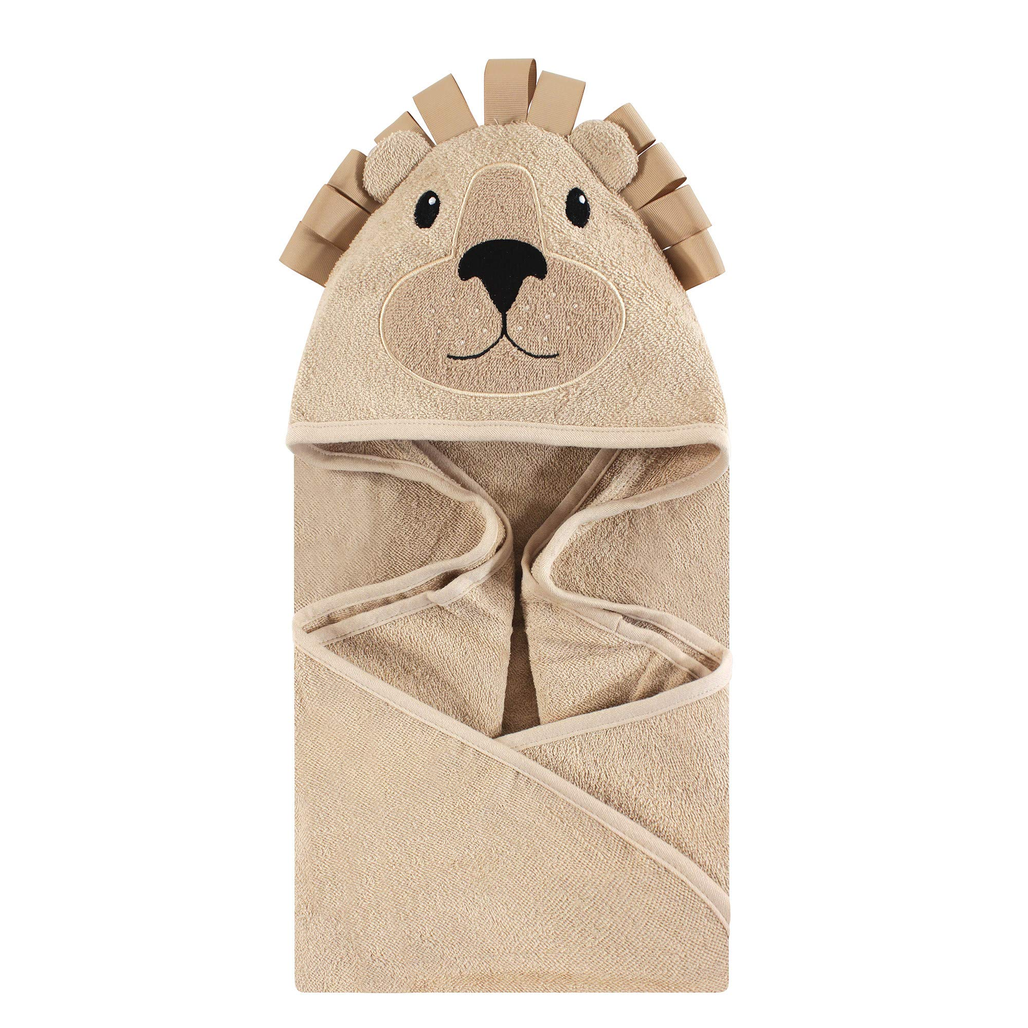 Hudson Baby Unisex Baby Animal Face Hooded Towel, Lion 1-Pack, One Size by Hudson Baby