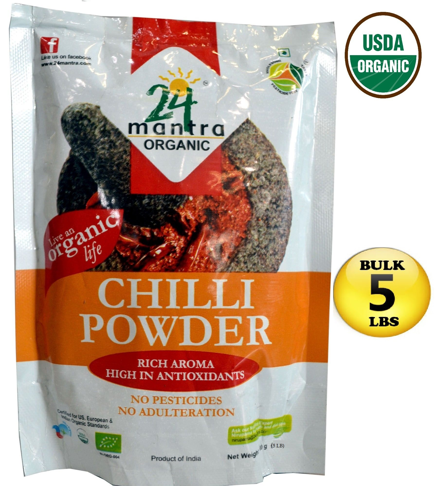 Organic Chili Powder - Chilli Powder - Bulk Size 5 LBS - USDA Certified Organic - ★ Best Price in Amazon - *** Very HOT *** - ★ Adulteration Free ★ Pesticides Free- 24 Mantra Organic by 24 Mantra Organic