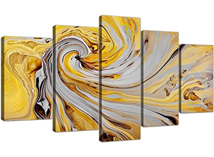 Extra Large Yellow and Grey Abstract Canvas Prints Five Panel