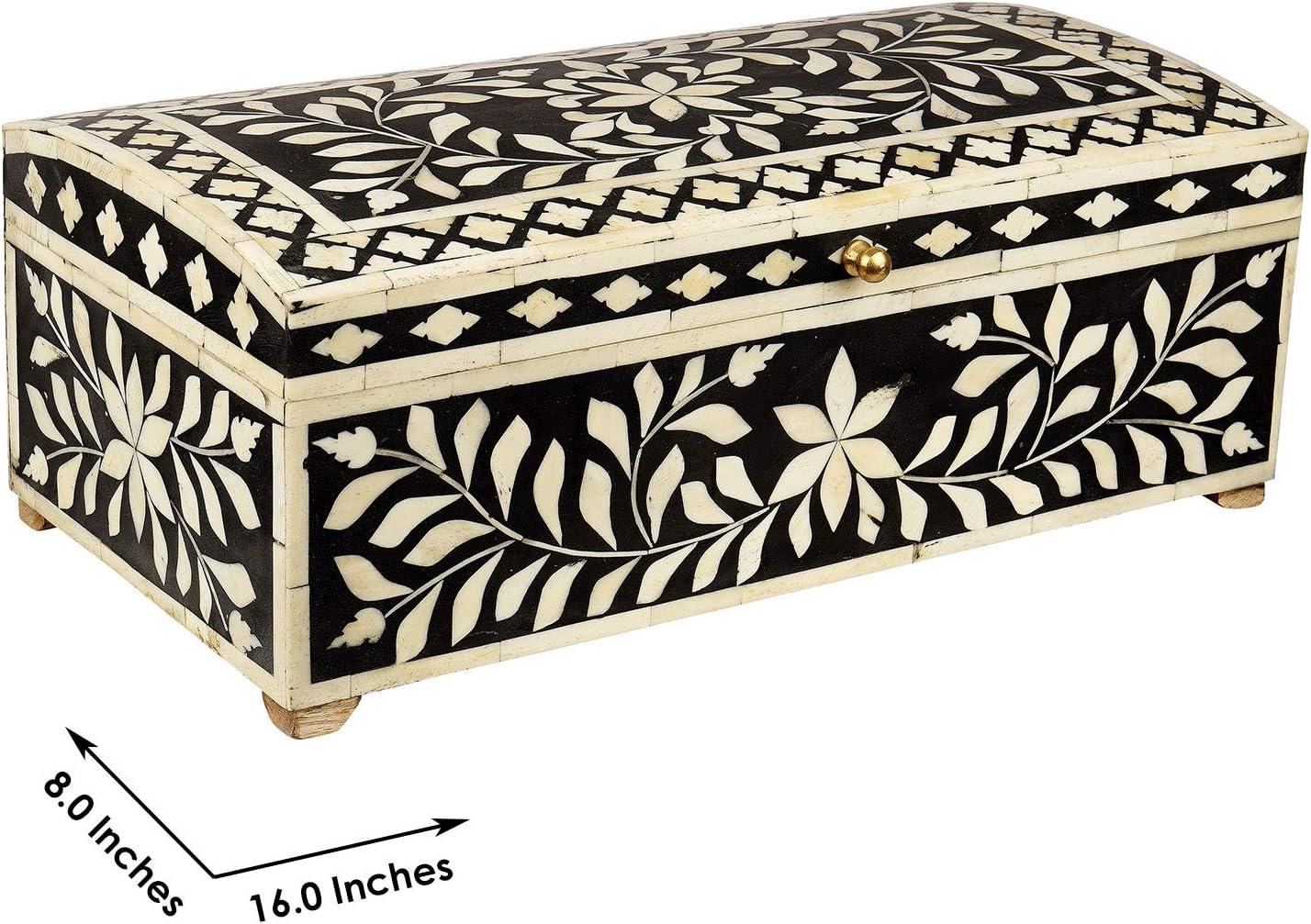 GAURI KOHLI Bone Artesanal del embutido de la Caja Decorativa en la Medianoche Color Negro (de Gran tamaño | 16