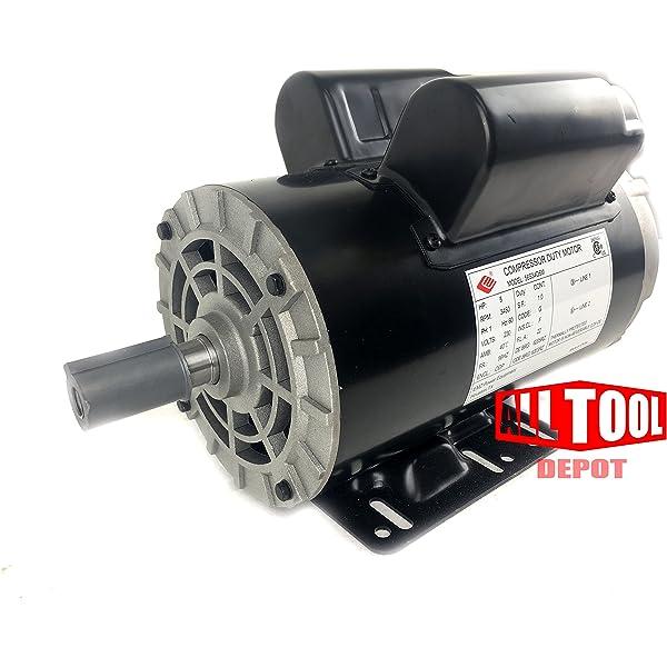 5 HP 3450 RPM Electric Motor Compressor Duty 56 Frame 1 Phase 7//8 Shaft 230V