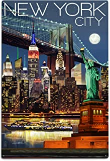 product image for Lantern Press New York, Skyline at Night (12x18 Aluminum Wall Sign, Wall Decor Ready to Hang)