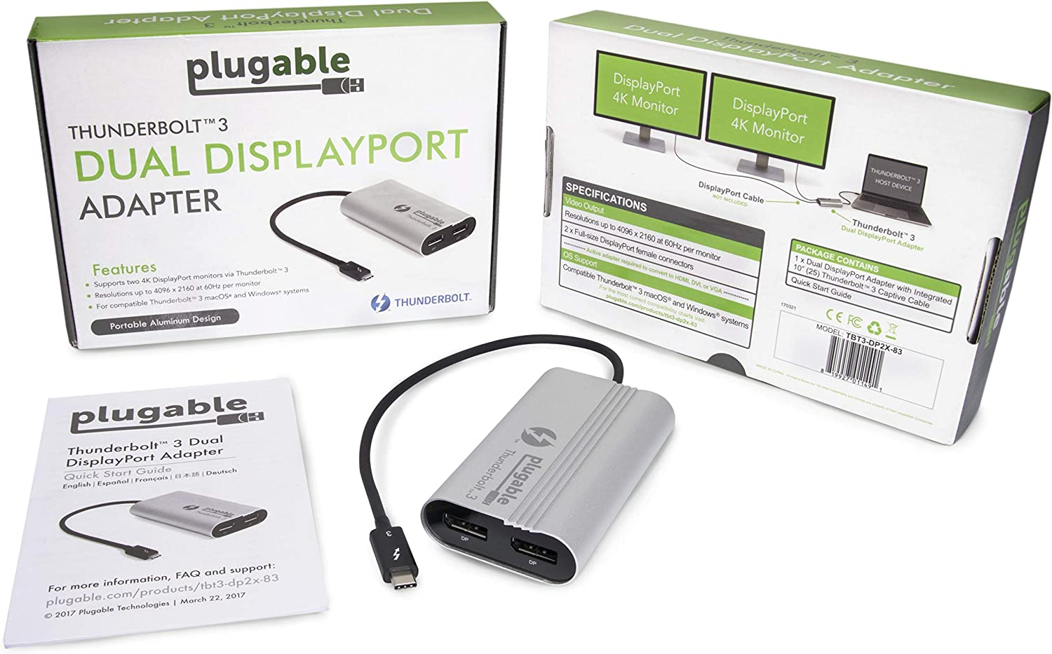 Plugable Thunderbolt 3 to Dual DisplayPort Display Adapter For Windows TBT3-DP2X