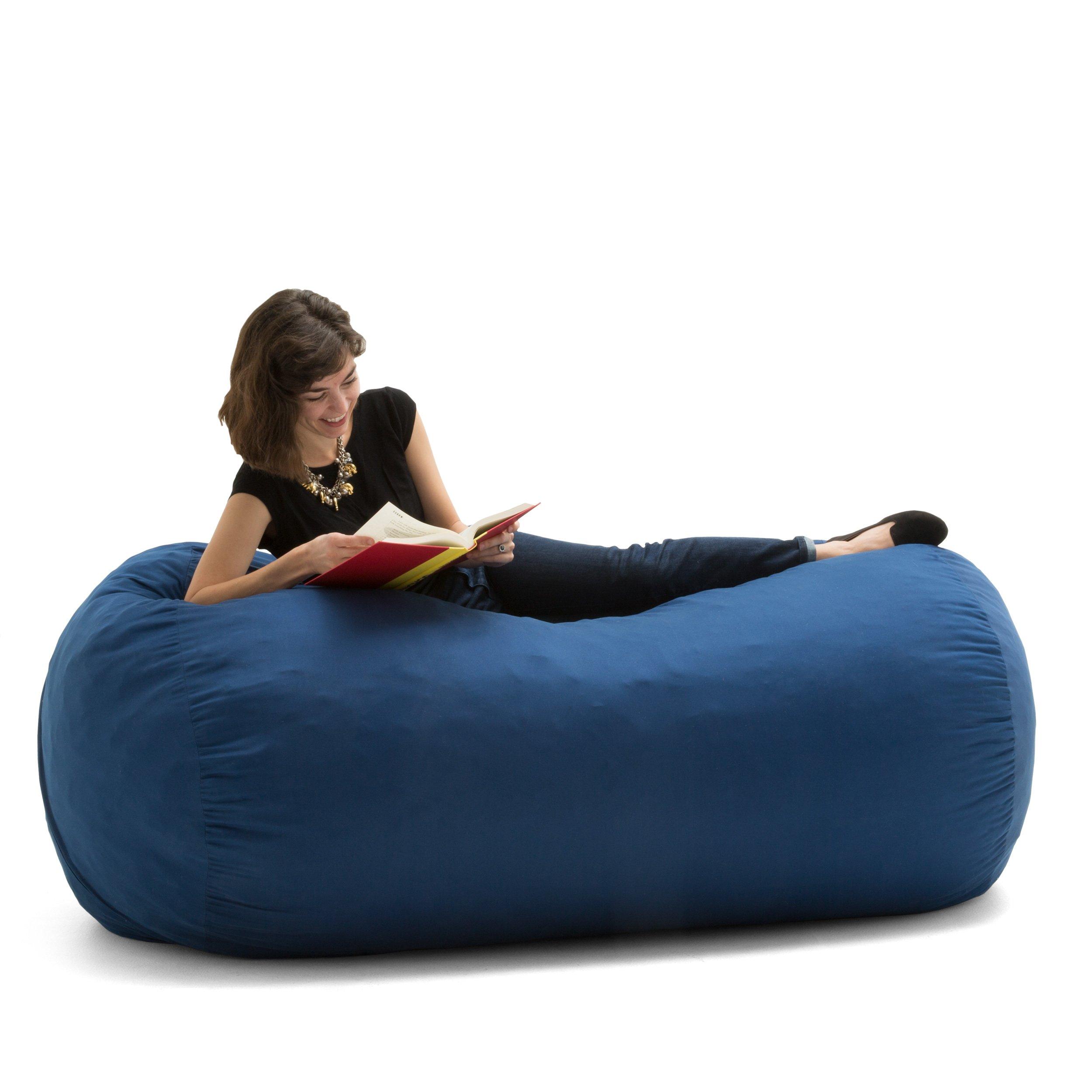 Big Joe Media Lounger Foam Filled Bean Bag Chair, Oxford Blue