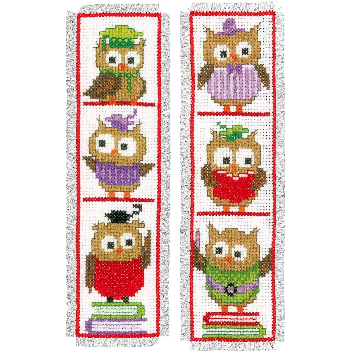 Clever Owls Bookmarks On Aida Counted Cross Stitch Kit-2.5X8 14 Count Set Of 2