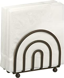 Home Basics Wire Collection Heavy Duty Bronze Coated Steel Flat Napkin Holder Organizer Stand, Free-Standing, Bronze