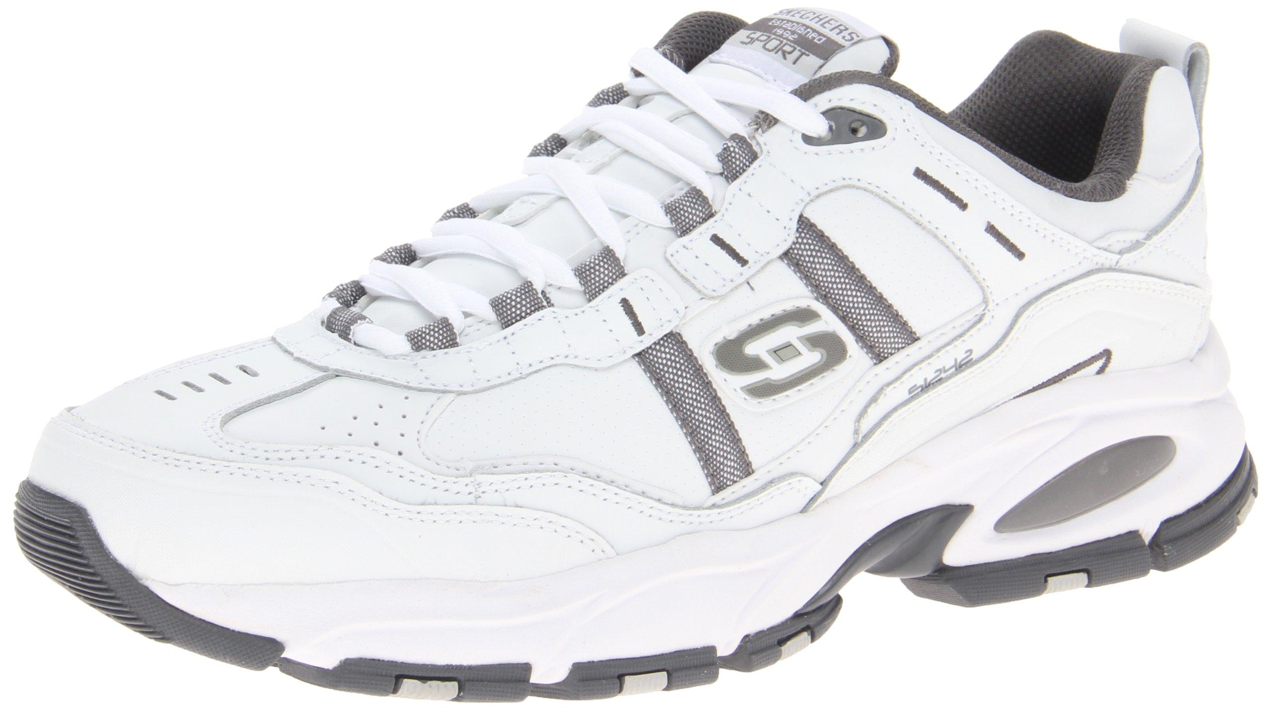 Skechers Sport Men's Vigor 2.0 Serpentine Memory Foam Sneaker,White/Charcoal,10 M US
