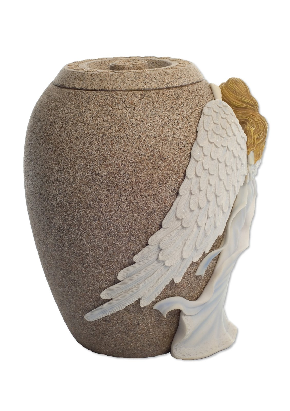 Angelstar Angel's Embrace Hand-Painted Angel, 10-1/2-Inch, Sandstone Finish, 230 Cubic Inch