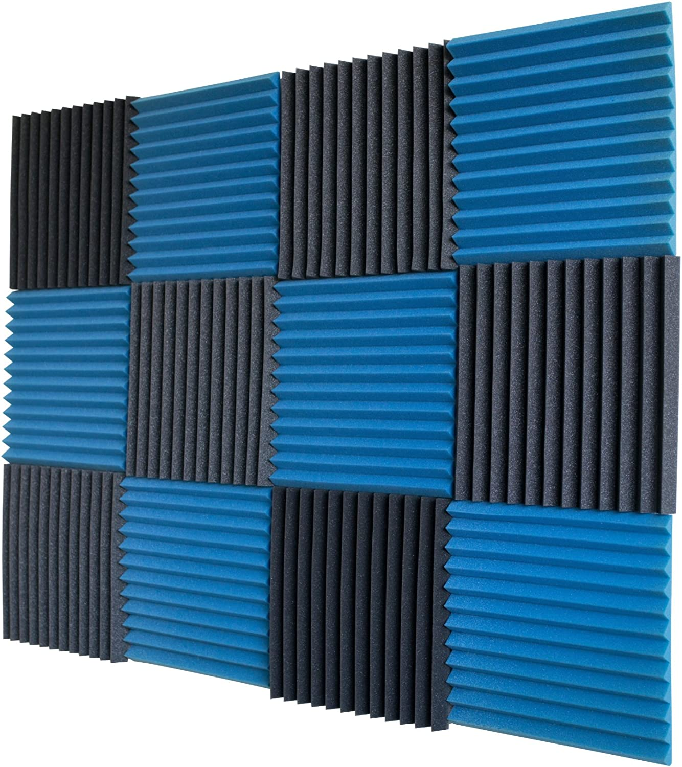"12 Pack- Eis Blue/Charcoal Acoustic Panels Studio Foam Wedges 1"" X 12"" X 12"""