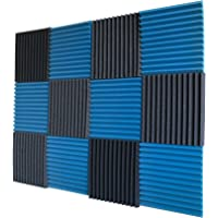 "12 Pack- Ice Blue/Charcoal Acoustic Panels Studio Foam Wedges 1"" X 12"" X 12"""